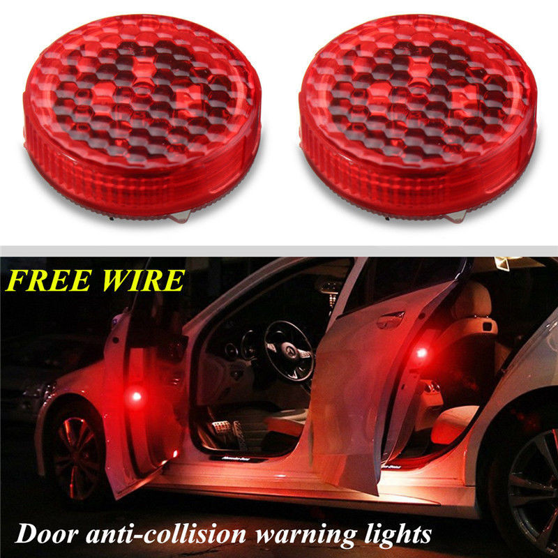 TOP Quality 2pc LED Car Truck Door Step 0.2A Red Warning Light Anti Collision Strobe Lamp Wireless Kit #0731