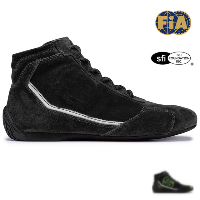 Fireprood racing shoes black with green color