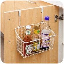 White Metal Cupboard Spice Rack Storage Organizer Kiechen Single Hanging Holder Racks Shelves For Spices Wall Cupboard