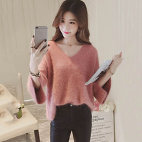 Women Straight Sweater V Neck Straight Three Quarter Sleeve Flare Sleeve Solid Standard Wool Female Sweety