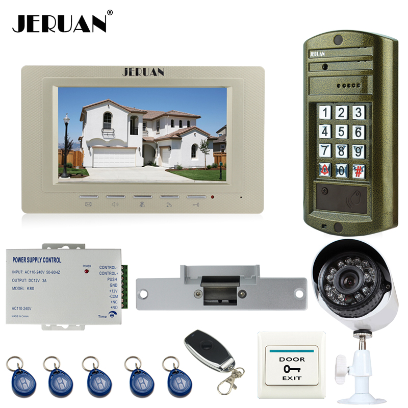 JERUAN Wired 7 inch TFT LCD Video Intercom DoorPhone System kit Metal Waterproof password keypad HD Mini Camera+Analog Camera rfid keyboard ip65 waterproof video doorphone intercom system for 3 apartments with 7 color lcd video intercom system in stock