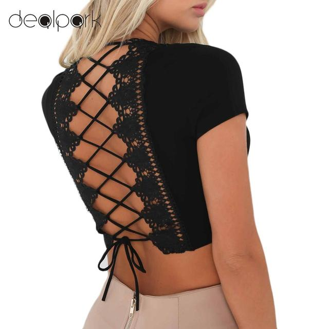 13890d19672 Sexy Women Bodycon Crop Top Shirt Hollow Out Lace Up V-Neck Short Sleeves  Stretch