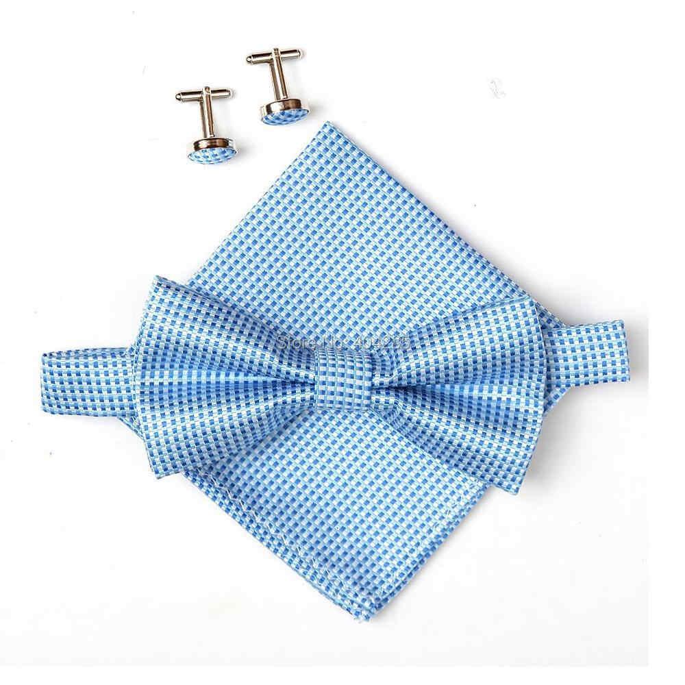 2019 ファッショングリップ蝶ネクタイセットが男性ハンカチカフス蝶ポケット正方形