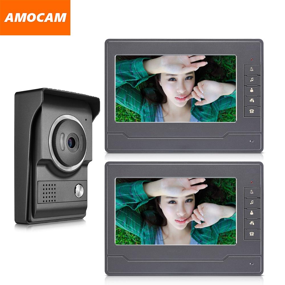 7 Inch Monitor Video Doorbell Door Phone Kit  Video Intercom Interphone System For Home Villa 1-IR Camera 2- LCD Screen