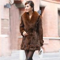 Autumn Winter Women's Genuine Real Natural Rabbit Fur Coat Fox Fur Collar Lady Slim Outerwear Coats Plus Size VF0166