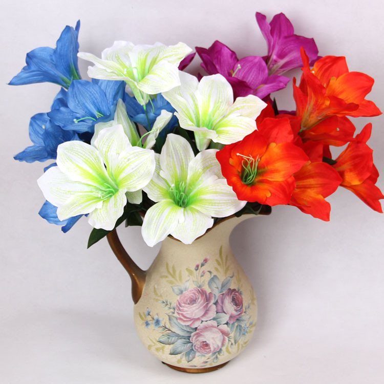 big 10 heads silk flower beautiful cheap artificial liliy bouquet home wedding real touch. Black Bedroom Furniture Sets. Home Design Ideas