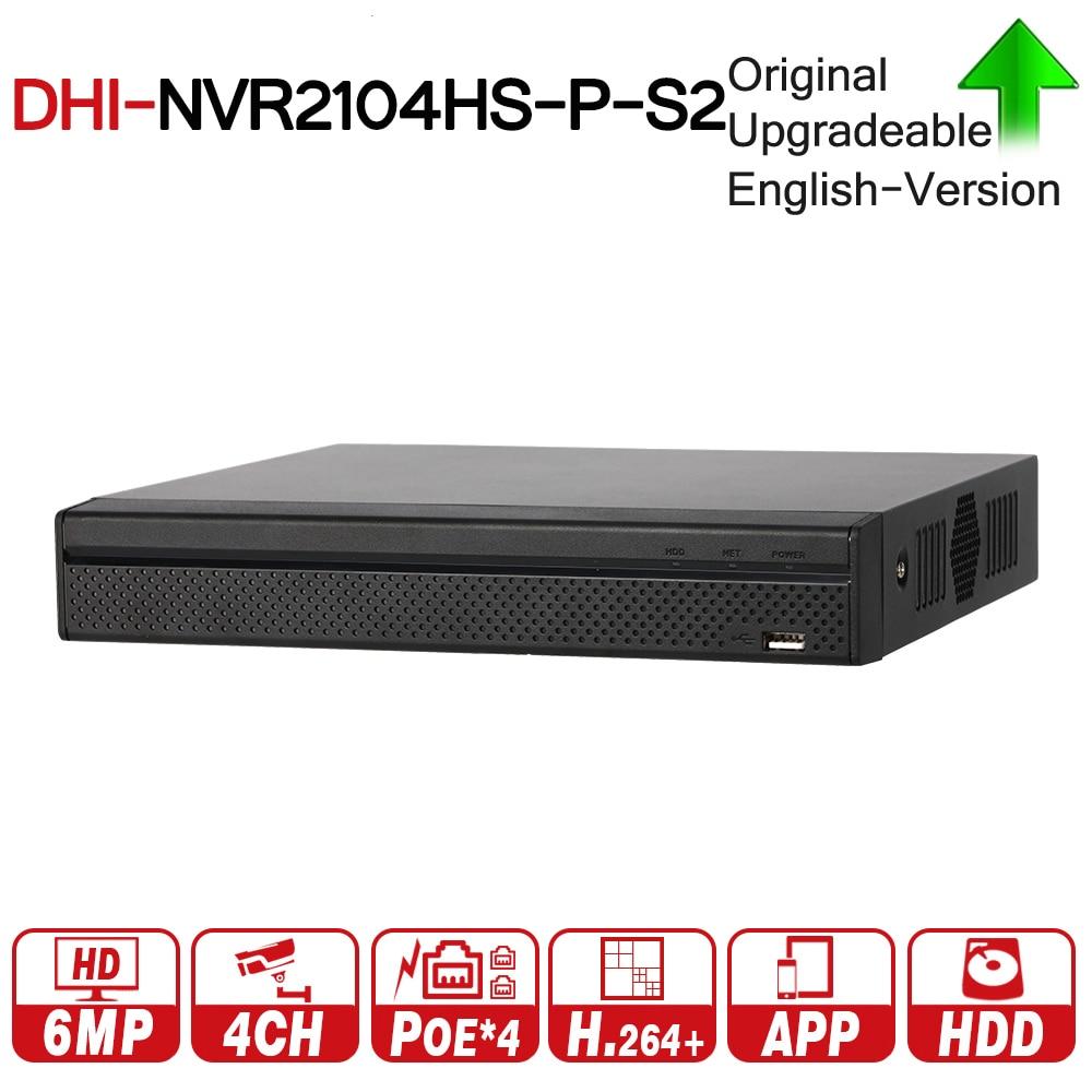 все цены на DH 4 Channel POE NVR Compact 1U 4PoE Network Video Recorder NVR2104HS-P-S2 Full HD 6MP Recording Support PTZ IP Camera онлайн