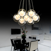 Modern Creative clear glass double deck ball lamp DIY home deco living room romantic G4 LED bulb chandelier light