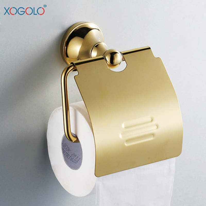 Xogolo solid brass gold color luxury wall mounted bathroom - Bathroom accessories paper towel holder ...