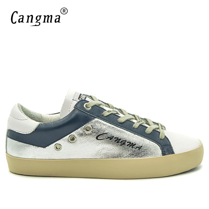 c7511636c6856 CANGMA Marque Minimaliste Femmes Chaussures Printemps Automne Argent En Cuir  Verni Sneakers Appartements Rétro Femelle Loisirs Chaussures Adulte  Chaussures ...