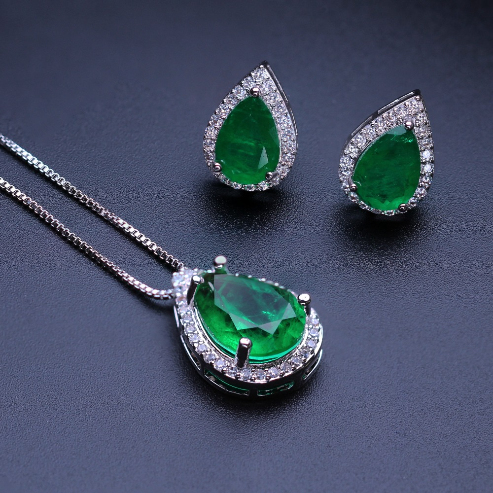 Green stud earring and pendant nekclace set fusion stone with cubic zirconia jewelry set fashion jewelry for women SFX0012322B round flowers pendant necklace and stud earring jewelry set for women with aaa cubic zircon hight quality fashion jewelry sets