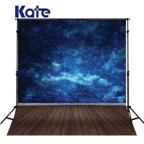Kate plancher en bois fond photographie bleu ciel étoilé nébuleuse Spot brillant arrière-plans Fotografia arrière-plans pour Photo