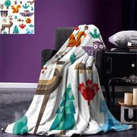 Kids Throw Blanket Cute Cheerful Poly Art Style Animals Owl Bear Bunny Apple Dear Nursery Baby Design Warm Microfiber