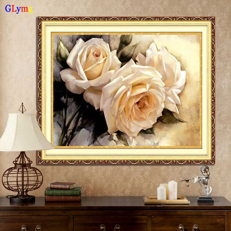 GLymg Needlework 3D Diy Chinese Cross Stitch White Rose Embroidery Kit Cotton Thread Cross-Stitch Patterns European Home Decor