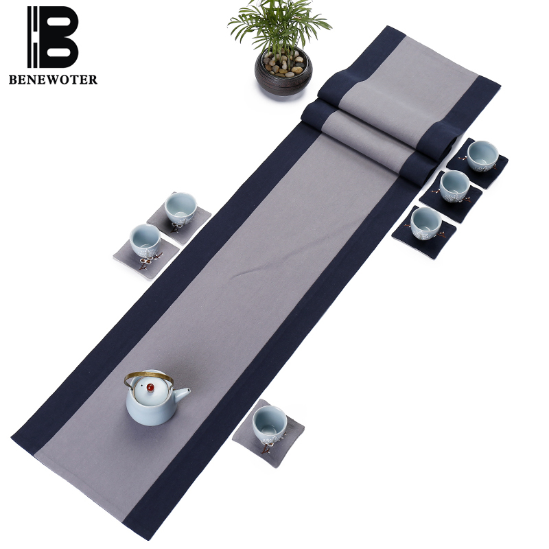 Simple Japanese Style Flax Cotton Plain Color Table Runners Zen Tea Ceremony Mat Retro Home Table Decoration Bed Flag Coffee Pad