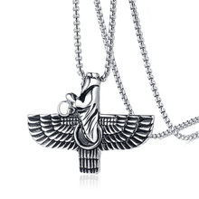 Persian Iran Farvahar Farohar Zoroastrian Wing Pendant Necklace for Men Vintage Persia Faravahar Pahlavi Steel Male Jewelry 24″