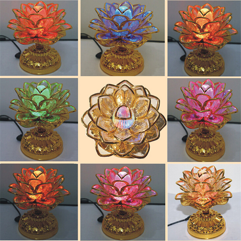 Pyhä 7 värikäs LED Lotus Lamppu buddhalainen tarvikkeet Alloy Base - Tavarat lomien ja puolueiden - Valokuva 4