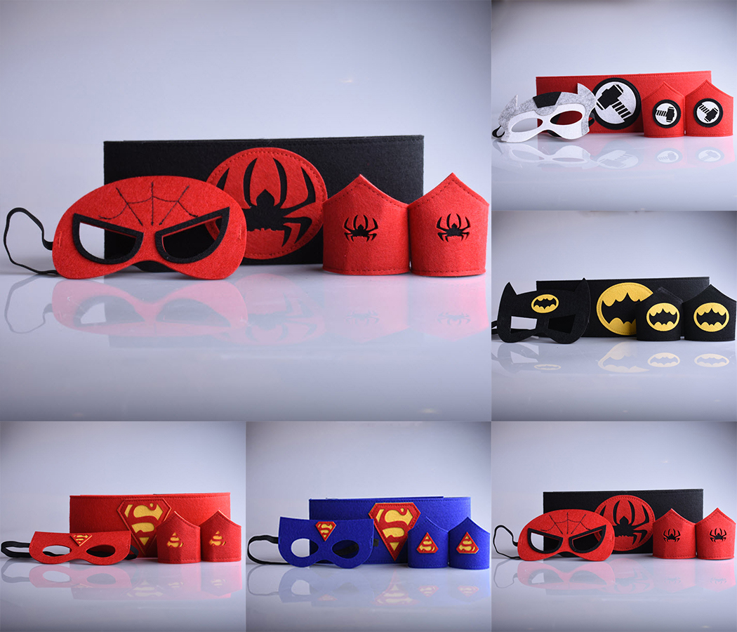 superhero 1 set =2 wristband+1 <font><b>mask</b></font>+1 belt superman batman Thor <font><b>Spiderman</b></font> cosplay toys armguard wrist riem <font><b>kids</b></font> cartoon costume