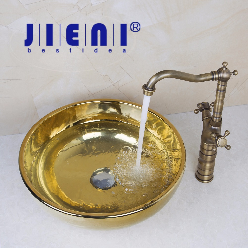 Ceramic Bathroom Sink Round Polished Golden Bathroom Sink Set Antique Brass Double Handle