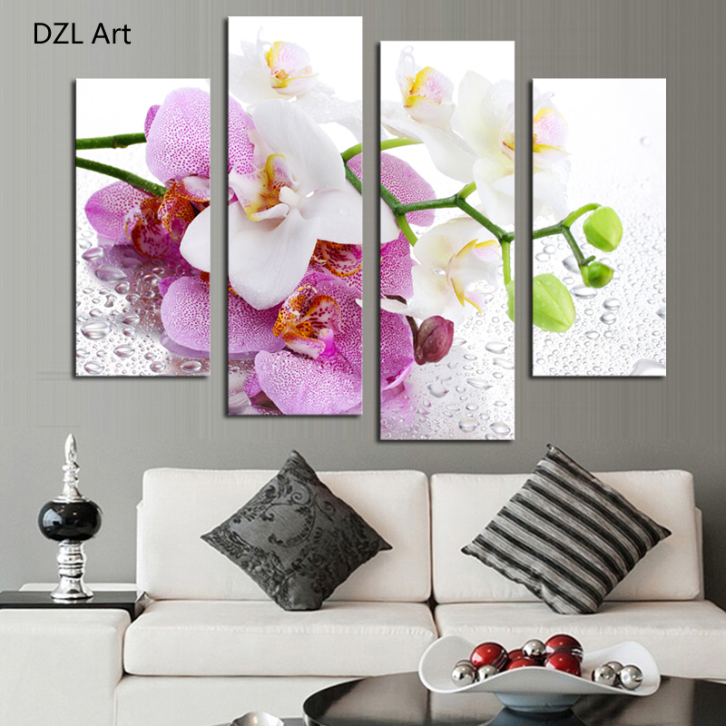 4 Pcs (No Frame) Pink Flowers Wall Art Picture Modern Home ...