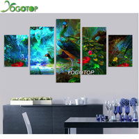 YOGOTOP Diamond Embroidery Peacock DIY Diamond Paintings Cross Stitch Home Decoration Rhinestone Needlework 5pcs Set ML020