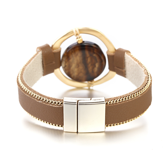 front view Brown Leather jewelry item