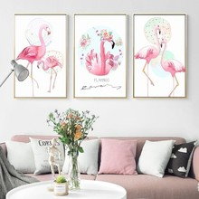 Pink Flamingo Animals Flower Love Poster Canvas Printings Wall Art Paintings Pictures for Bedroom Home Decorations