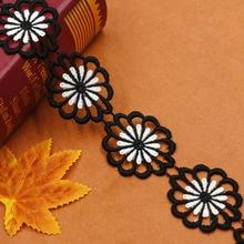 4.6cm 너비 꽃 레이스 트림 리본 장식 화이트 블랙 더블 컬러 자수 레이스 트리밍 수예 재봉