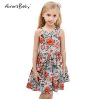 2018 Summer Floral Baby Girls Princess Dresses Sleeveless Vest Draped for Children Vestido European Style Kids Clothes