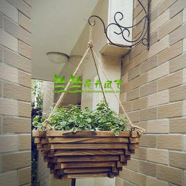 Wall Mounted Wood Flowerpot Anticorrosive Wood Planter Balcony