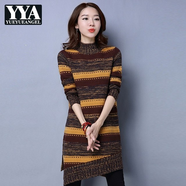 a7a64b0fc47 Red Green Yellow Sweater Striped Elegant Turtleneck Long Pullovers Female  High Neck knitted dress Women Clothes Fashion Knitwear