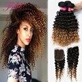 8A Brasileiro Profunda Curly Virgem Cabelo 3 Pacote Lida Com lace closure ombre afro crespo encaracolado extensões de cabelo humano com fechamento