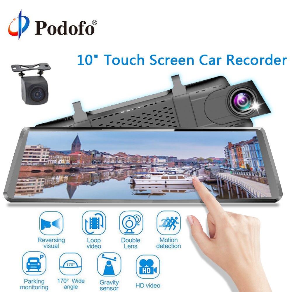 Podofo 10 IPS Plein Écran Miroir Tactile Double Lentille Voiture Dvr Rétroviseur De Voiture Registrator automobiles lecteur enregistreur dashcam