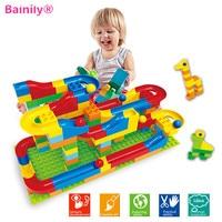 Bainily 1Set DIY Race Run Track Colorful Construction Kids Gaming Balls Rolling Track Building Blocks