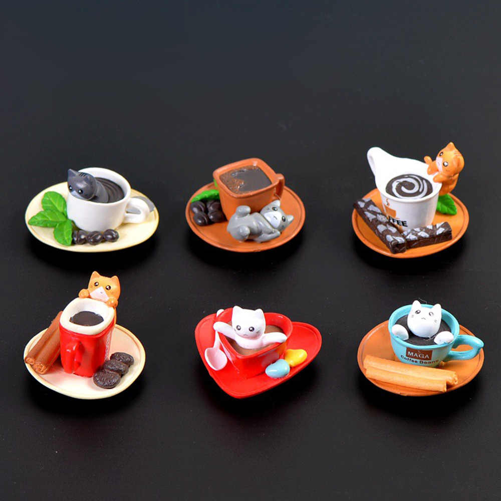 1PC Kawaii Cute Sushi Dessert Cat Figurine Mini Animal Home Decor Miniature Fairy Garden Decoration Accessories Modern Bonsai