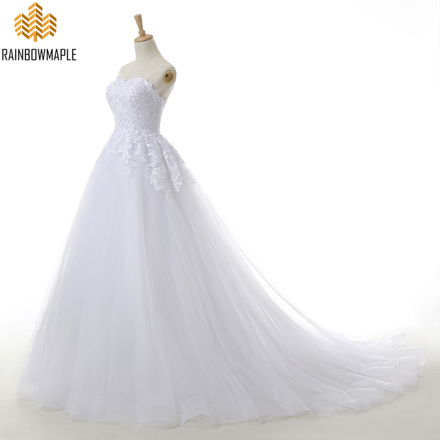 Elegant Strapless Backless Beaded Lace Ball Gown Wedding Dresses ...