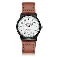 2017 Luxury Fashion Men Business Fashion Leather Band Analog Quartz Round Wrist Watch Watches