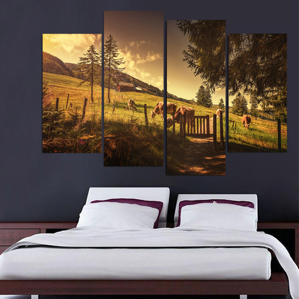 Modular Poster Canvas Printed Painting Framework 4 Panel Farm Cows Land Wall Artwork Picture Art For Living Room Home Decor ...