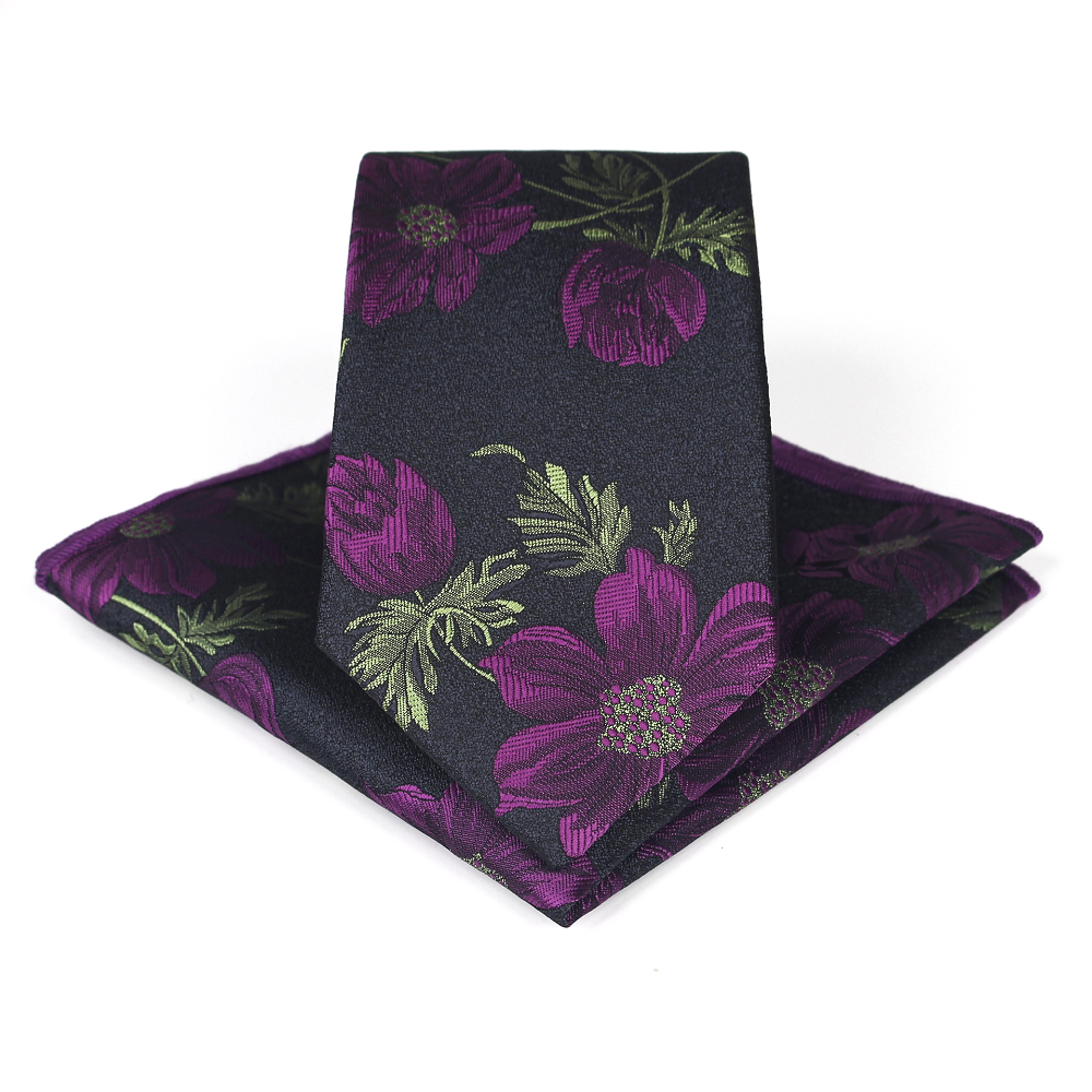 Bridegroom Wedding Business Men Tuxedo Suit Green Purple Red Flower Embroidery Pocket Square Towel Handkerchief 7CM Tie Set