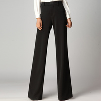 New Arrival 2016 Women Fashion Color Black Wide Leg Pants Casual Long Trousers Female Slim Straight