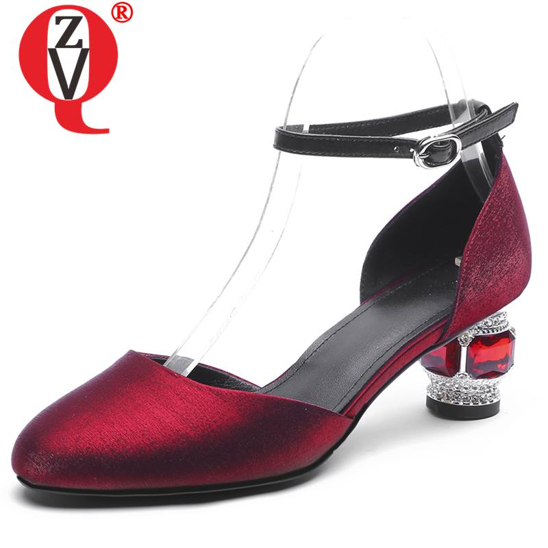 ZVQ office woman pumps sheepskin leather insole silk mid heels shoes spring summer fashion girl black red crystal shoes 40 sizeZVQ office woman pumps sheepskin leather insole silk mid heels shoes spring summer fashion girl black red crystal shoes 40 size