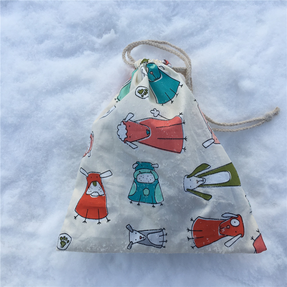 YILE 1pc 1pc Cotton Drawstring Pouch Party Favor Multi-purpose Bag Cartoon Animal White 8129b