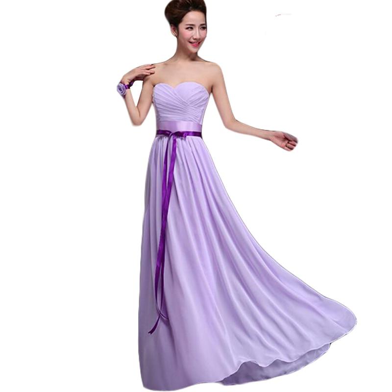 Light Purple Bridesmaid Dresses 2016 Bow Lace Strapless Chiffon Vestido De Festa De Casamento Slim Long Wedding Party Dress BV23