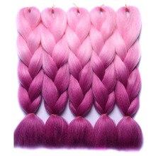 Chorliss 24″Jumbo Braids Synthetic Crochet Hair Extensions Ombre Braiding Hair Bundles High Temperature Fiber PinkTPurple