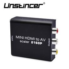 UNSTINCER HDMI to AV Converter 4K HDMI  to RCA Composite Video Audio Signals Support 2016P HDMI2AV Converter for TV/Monitor