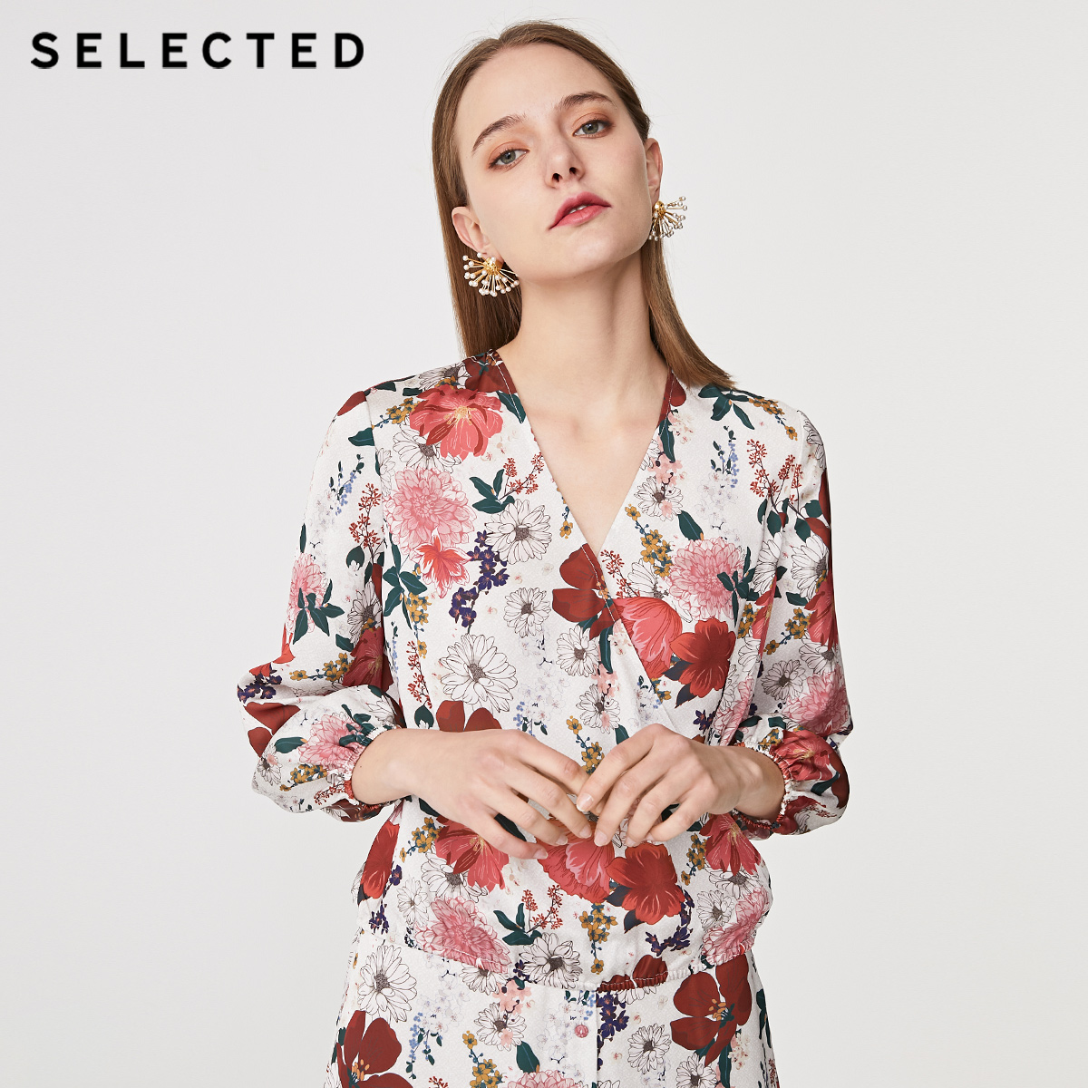 SELECTED Women's Summer Chiffon Print Loose Fit Long-sleeved Shirt S|419251508