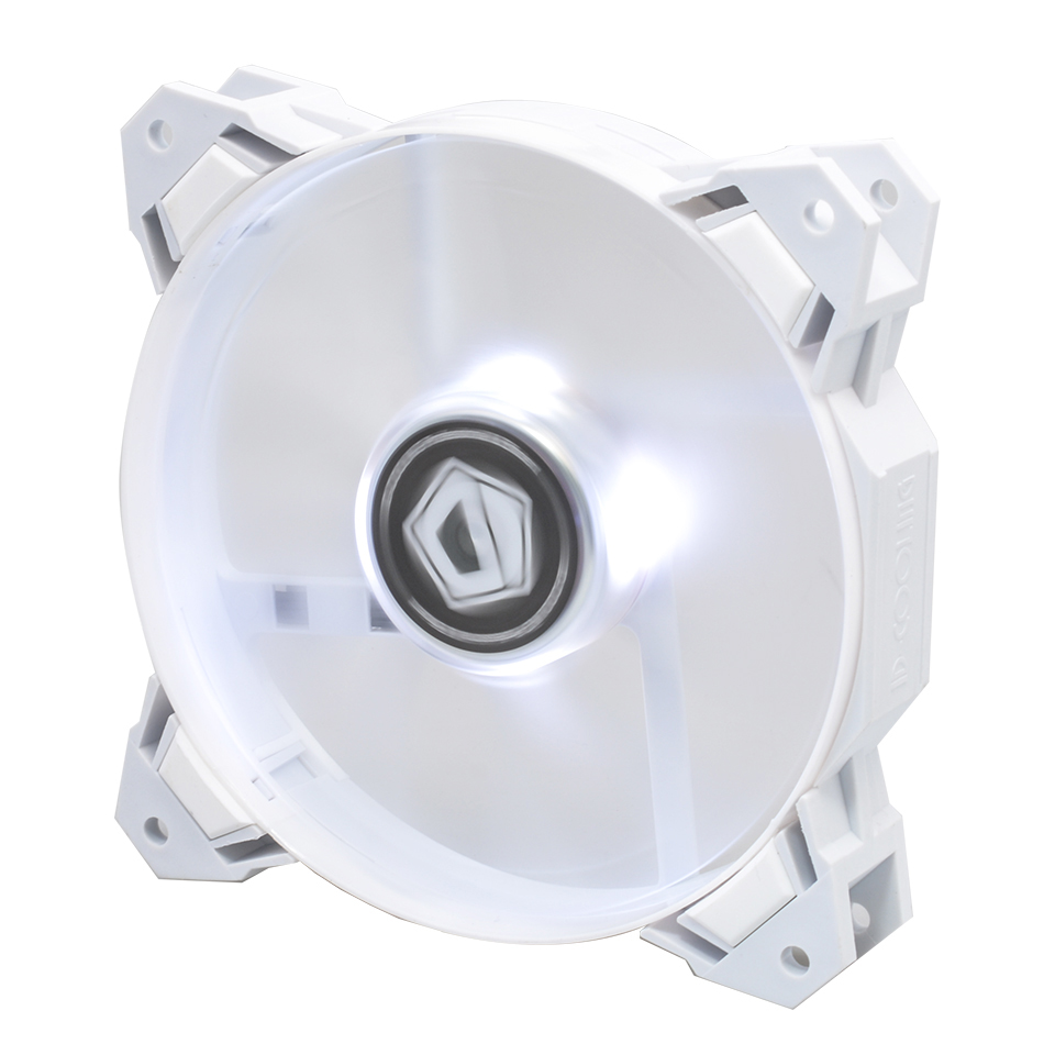 Id Cooling Pl12025 Green Led 120mm 4pin Pwm Fan With De Vibration Tg 11 Sf 12025 W White
