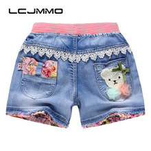 LCJMMO 2017 New Baby Girls Shorts jeans Casual Cotton Summer Children Clothing Kids Flower Pants For Girls Cartoon Denim Shorts