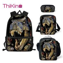 Thikin Dinosaur Animals School Bags 4pcs/set for Teenager High capacity Backpack Supplies Bookbag Lovely Satchel