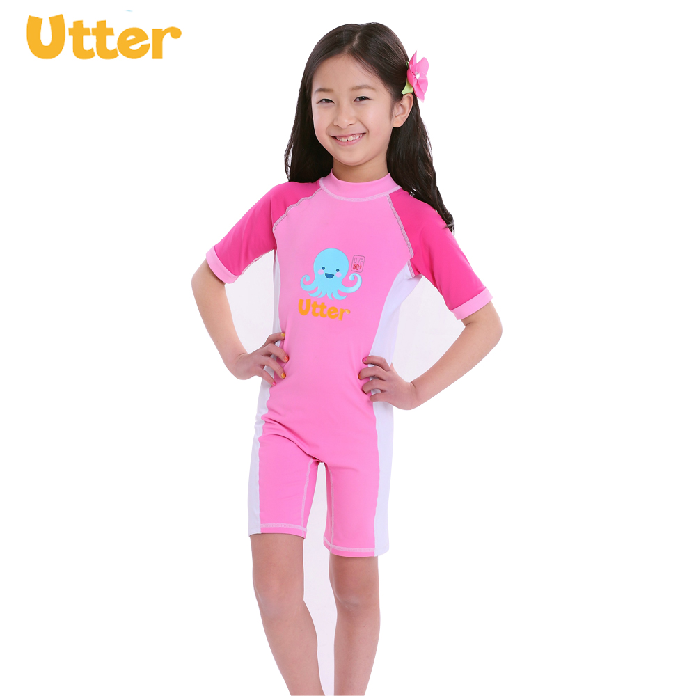 UTTER Baby Girl Swimwear Clothes Shorty Sleeve Lycra Sunsuit Sun Protection Rash Guard for Childern Swimsuit k1x k1x shorty crew jersey